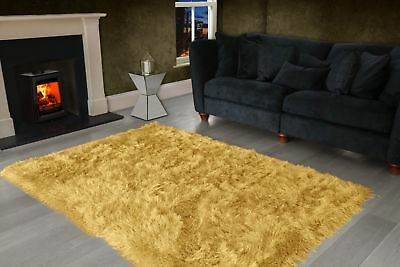 Ochre Yellow Large SHAGGY Floor RUG Soft SPARKLE Shimmer Extra Thick 9cm Pile 4