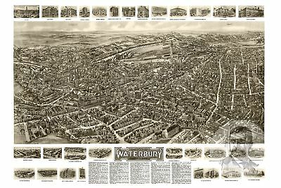 Vintage Connecticut Art Old Map of Clinton CT from 1881 Historic Decor