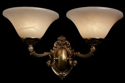 pair of  Alabaster wall lights sconces solid  double arms bronze candelabra 5