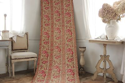 Fabric Antique Floral French printed cotton circa 1860 twill weave muted tones 7