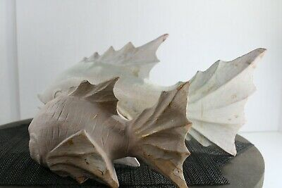 Carved (1) Large and (1) Small Wooden Japanese White Koi Fish Carving NICE! 4