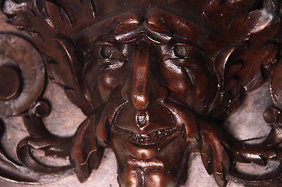 19C French Gothic Fantasy Carved Oak Mythological Gargoyle Mask Pediment PAIR 2