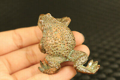 old Chinese bronze hand cast jinchan frog statue collectable ornament tea pet 5