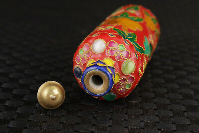 chinese red cloisonne hand painting calabash Statue Collect fine snuff bottle 4