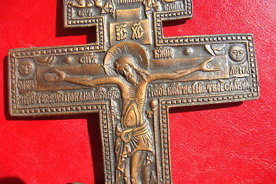 19th CENTURY ANTIQUE RARE RUSSIAN BEAUTIFULLY DETAILED ORTHODOX BRASS HOLY CROSS 6