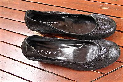 JONAK jolies ballerines compensées cuir pailleté noir