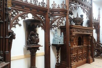 19C English Gothic Spire Curved/Carved Tiger Oak Church Organ Surround 11
