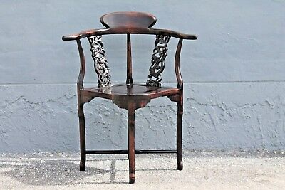 ASIAN EARLY 20thc HIGHLY CARVED- MAJORLY DECORATIVE CORNER CHAIR 2
