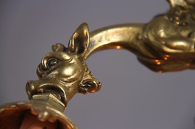 Vintage French Gothic Fantasy Winged Dragon/Griffin Bronze Castle Chandelier 3