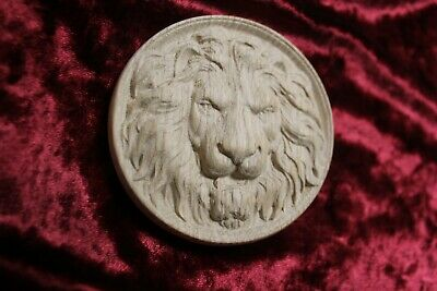 "Decorative lion head, wooden Carved lion rosette. Oak wooden element. 10"" 4"