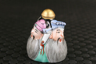 Rare Chinese old porcelain hand painting three friend Sworn statue snuff bottle 2