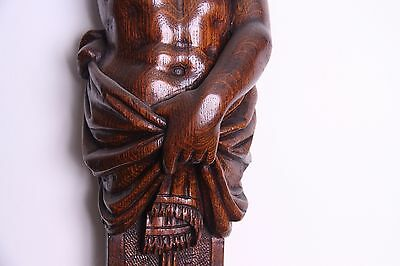 19C Italian Carved Walnut Classic Caryatid Wall Pilasters Architectural Element 5
