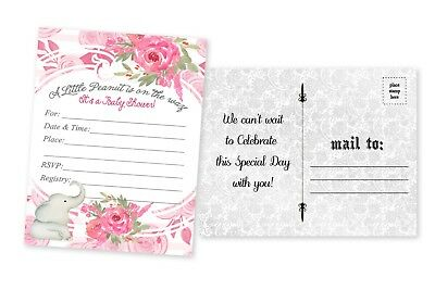 20 Elephant Baby Shower Invitations Cards Decorations Girl