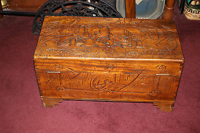 7 of 12 Antique Chinese Wood Carved Large Storage Chest Trunk-Dragons u0026 Men-Detailed & ANTIQUE CHINESE WOOD Carved Large Storage Chest Trunk-Dragons u0026 Men ...
