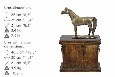 Beautiful solid wood casket with Bronze Statue - Arabian Horse cremation urn (1) 4
