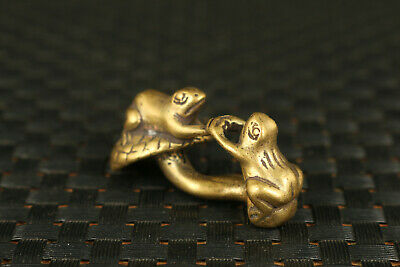 Chinese old bronze hand carving frog statue netsuke tea tray decoration gift 2