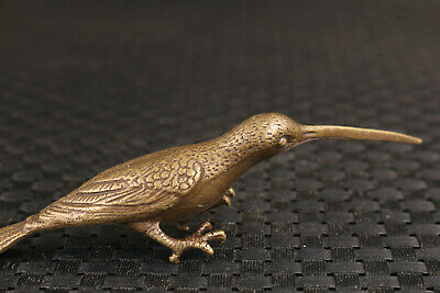 rare chinese old bronze hand casting bird statue figure collection good stand 5