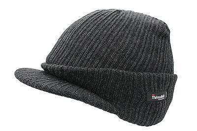 7bcc5150 ... Unisex Mens Ladies Peaked Beanie Thinsulate Thermal Winter Ski Hat With  Peak 3