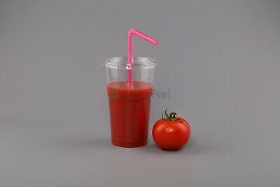 200 x Disposable Smoothie Cups Domed Flat Slot Lids Milkshake Juice Slush Cup 4