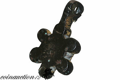 Intact Late Roman Early Byzantine Bronze & Gilt Enamel Pendant 3