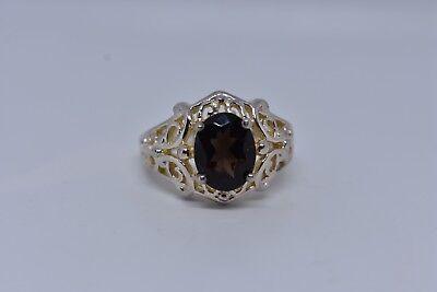 Vintage Genuine Smoky Topaz Deco 925 Sterling Silver Ring 3