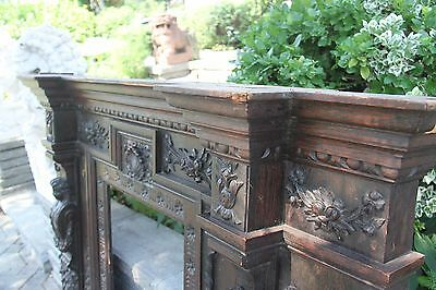 19C English Carved Oak Figural Jester Griffin/Gargoyle/Dragon Fireplace Mantel 12