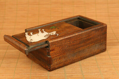 Chinese wood hand carving cow statue inlay conch box secret button open rare 2