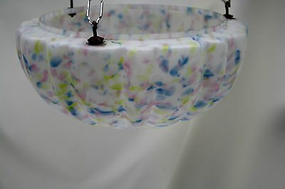 chandelier  LARGE DELICATE PASTEL GLASS BOWL   ex country house loft 1930S 3