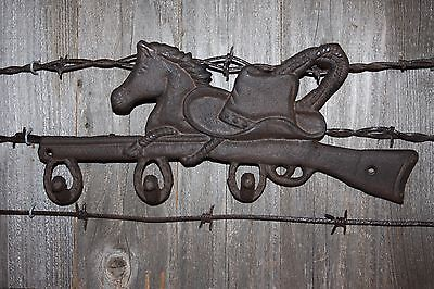 """(3) Cast Iron Farm And Ranch Wall Hook, Cowboy Hat Horse Design, 12 1/2"""",w-12 4"""