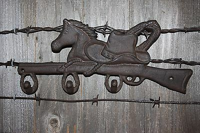 "(3) Cast Iron Farm And Ranch Wall Hook, Cowboy Hat Horse Design, 12 1/2"",w-12"