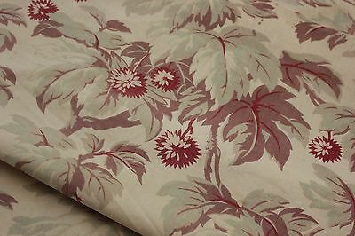 Antique  French printed cotton  faded foliage shabby chic