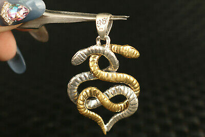 solid Silver Hand Carved Dual Snake Statue Pendant Netsuke gift decorate 5