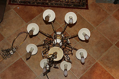 Antique Victorian Style Hanging Chandelier-8 Light-Painted Flowers-Brass Metal