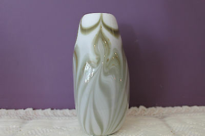 "Lovely Hand Blown Green Marbled 7-1/2"" Vase 3"