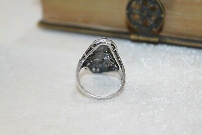 ART DECO vintage STERLING Silver MARCASITE Ring  7 1/2 10