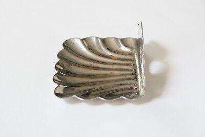 antique bathroom kitchen soap holder | vtg deco victorian bath nickel clamshell 12