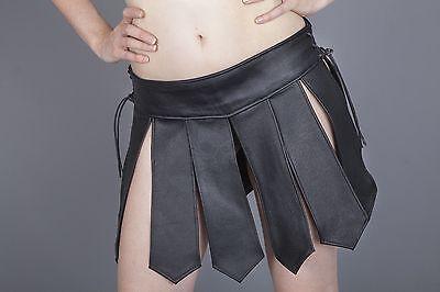 NEU Amazonen Kilt Gladiator Skirt Echt Leder Schwarz NEU leder-joe Muay Thai M 2