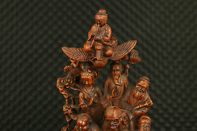 Chinese old boxwood  hand carving Eight Immortals statue noble decoration gift 2