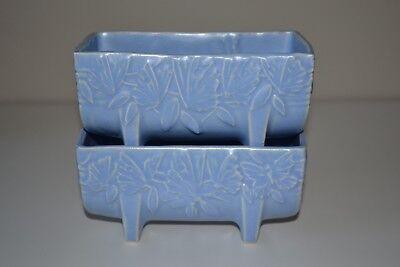 "Vintage McCoy Pottery Butterfly Blue Planter  Matte Blue 5 1/2"" 1930s 7"