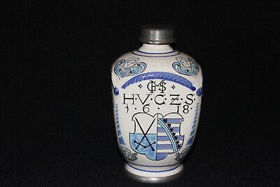 Apothekerkrug Keramikkrug Apothekergefäß mit Zinn Schraubverschluß Ulmer Keramik 2