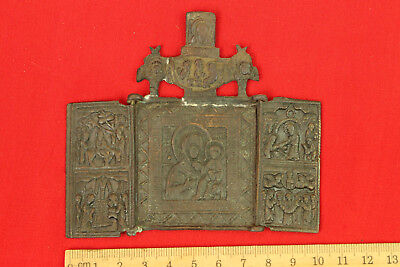 Old Antique Original Folding Russian Brass Bronze Travel Icon Tryptich 3