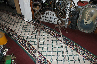 Antique Cast Iron Fireplace Andirons-Unusual Twisted DNA Strand-Large Andirons 4