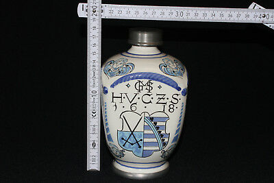 Apothekerkrug Keramikkrug Apothekergefäß mit Zinn Schraubverschluß Ulmer Keramik 7