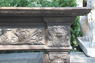 19C English Carved Oak Figural Jester Griffin/Gargoyle/Dragon Fireplace Mantel 3
