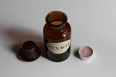 Apothekerflasche, Form selten, rund, alt, HEXACIT, SCHLIFF STOPFEN