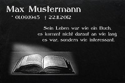 Grabstein Grabplatte Grabmal Wunsch Gravur + Doppelstütze aus Granit 30x20x1 cm 4
