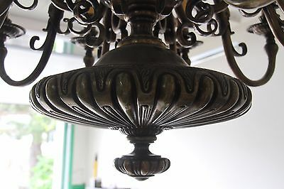 Vintage French Solid Bronze Eight-Arm Chandelier Griffin/Gargoyle/Grotesque 8