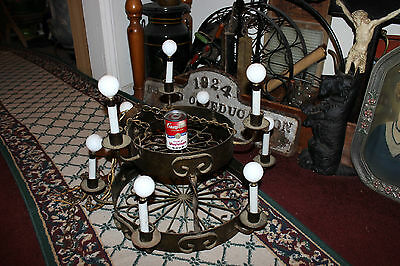 Vintage Wrought Iron Candelabra Chandelier-9 Light 2 Tier Chandelier-Country