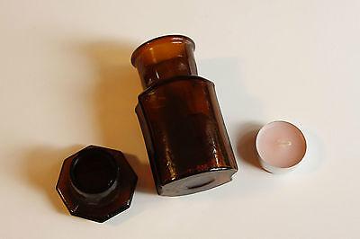 Apothekerflasche, Form selten, CALC. GLUCONIC. rund mit 4 Kanten,alt,emailliert