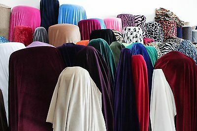 """Stretch Velvet Fabric Costumes Craft, Apparel, Upholsters 60""""W 30 Color By Yard 5"""